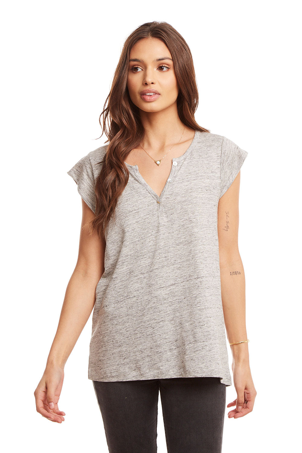 Linen Jersey Button Front Cap Sleeve Baby Henley WOMENS chaserbrand4.myshopify.com
