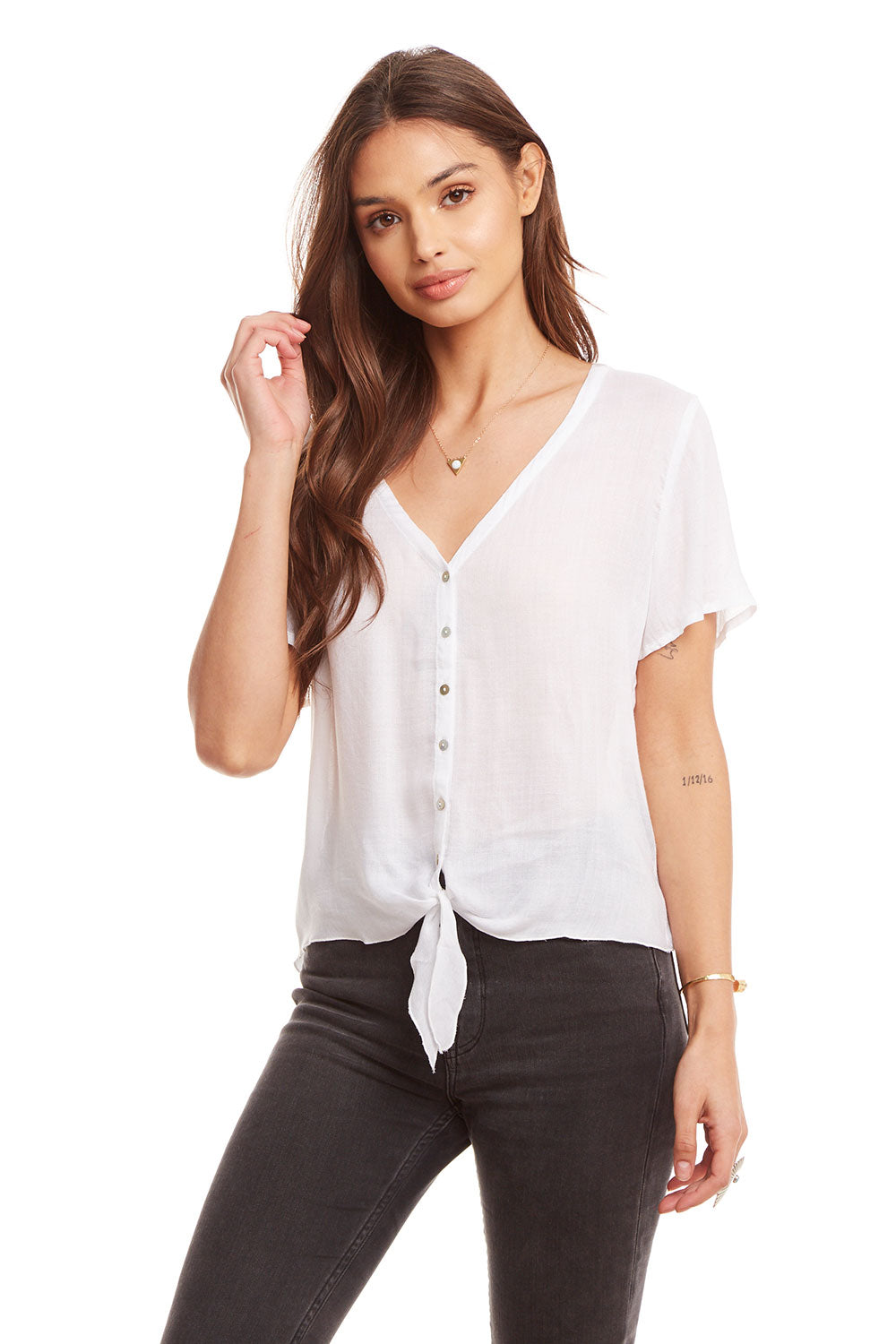 d5ed3127 Heirloom Gauze V Neck Tie Front Short Sleeve Button Down Shirt, WOMENS,  chaserbrand.