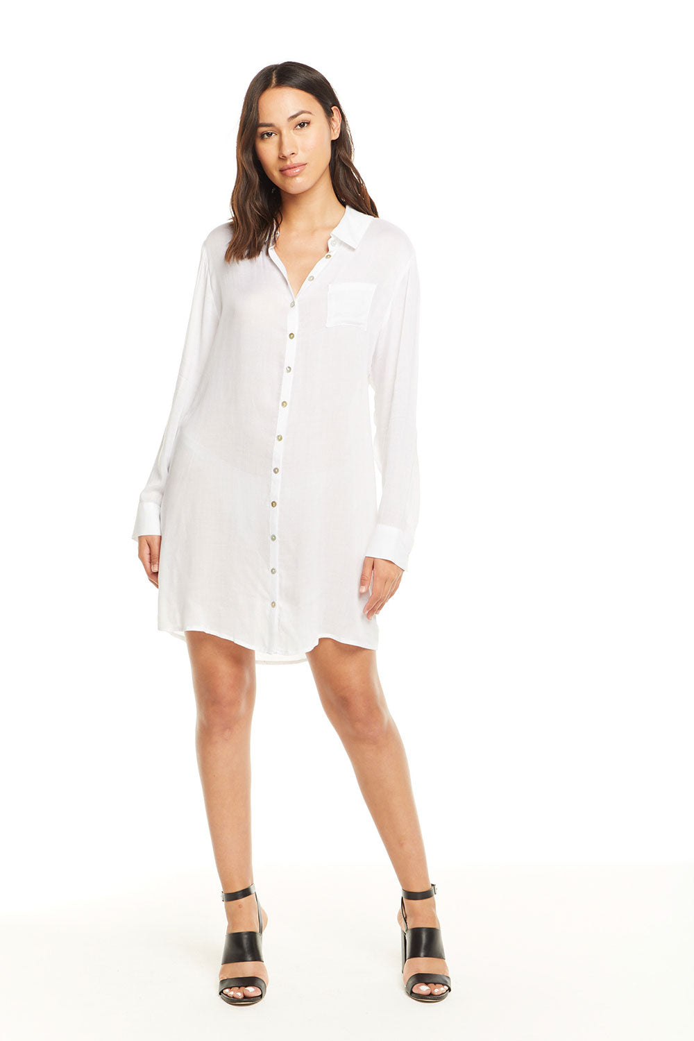 Heirloom Gauze L/S Button Down Shirt Dress WOMENS - chaserbrand
