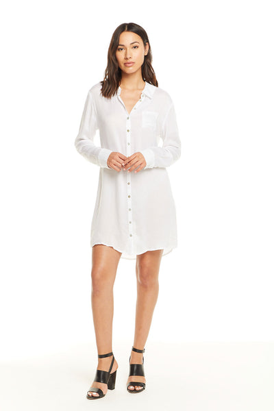 Heirloom Gauze L/S Button Down Shirt Dress, WOMENS, chaserbrand.com,chaser clothing,chaser apparel,chaser los angeles