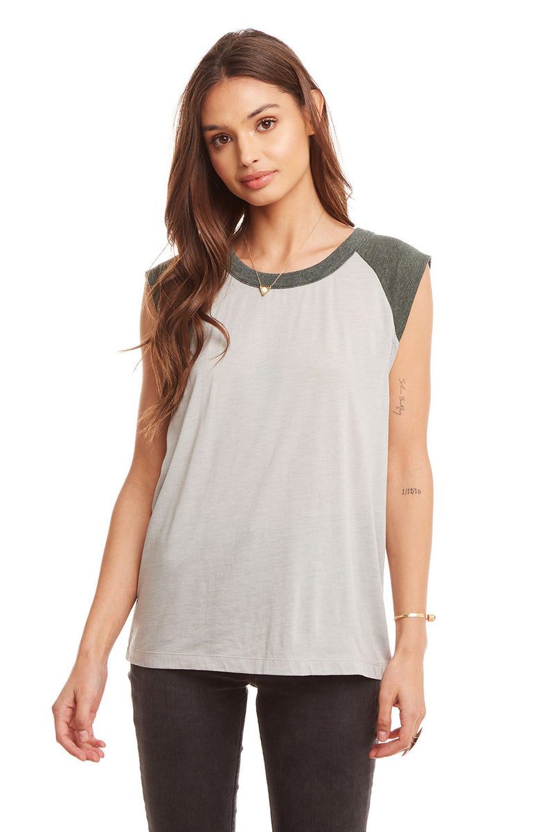 Blocked Jersey Cap Sleeve Crew Neck Tee WOMENS chaserbrand4.myshopify.com