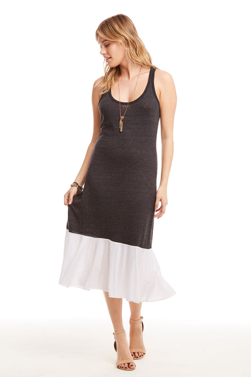 Blocked Jersey Skinny Racerback Midi Dress with Peplum Hem, WOMENS, chaserbrand.com,chaser clothing,chaser apparel,chaser los angeles