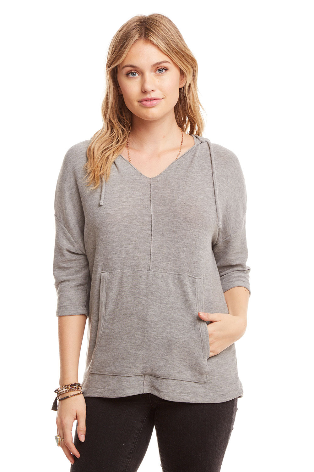 Cozy Knit 3/4 Sleeve Boxy Pullover Hoodie WOMENS chaserbrand4.myshopify.com
