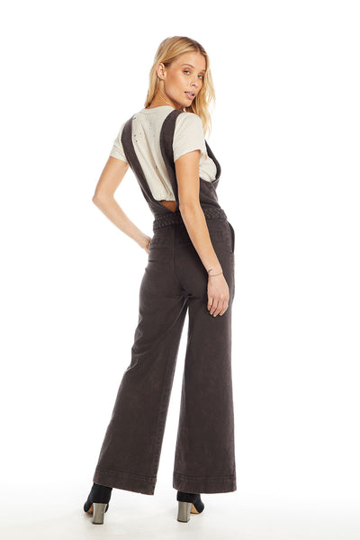 Vintage Canvas Braided Waist Deep-V Wide Leg Jumpsuit, WOMENS, chaserbrand.com,chaser clothing,chaser apparel,chaser los angeles