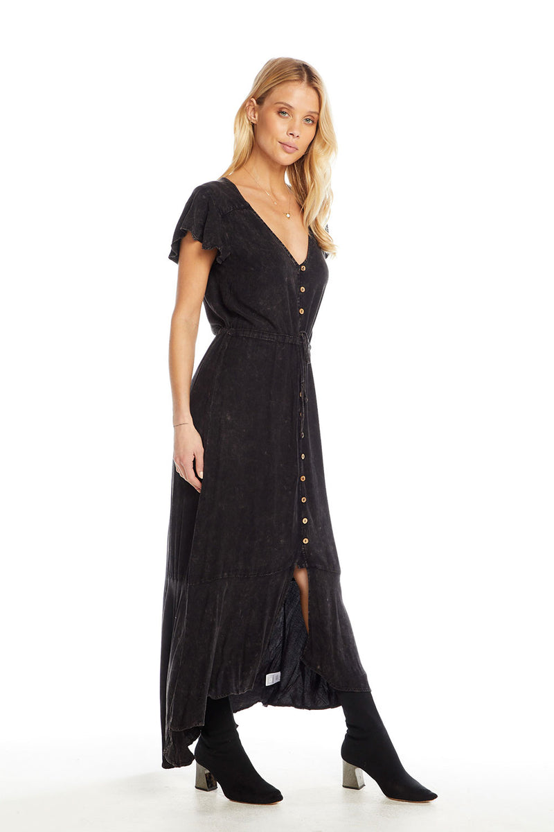 Heirloom Wovens Flutter Sleeve Button Down Hi-Lo Maxi Dress, WOMENS, chaserbrand.com,chaser clothing,chaser apparel,chaser los angeles