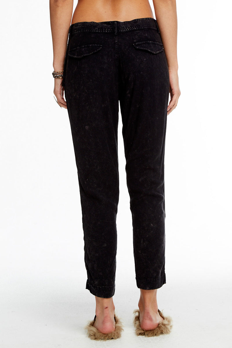 Heirloom Wovens Cropped Drawstring Waist Side Slit Panel Pant WOMENS chaserbrand4.myshopify.com