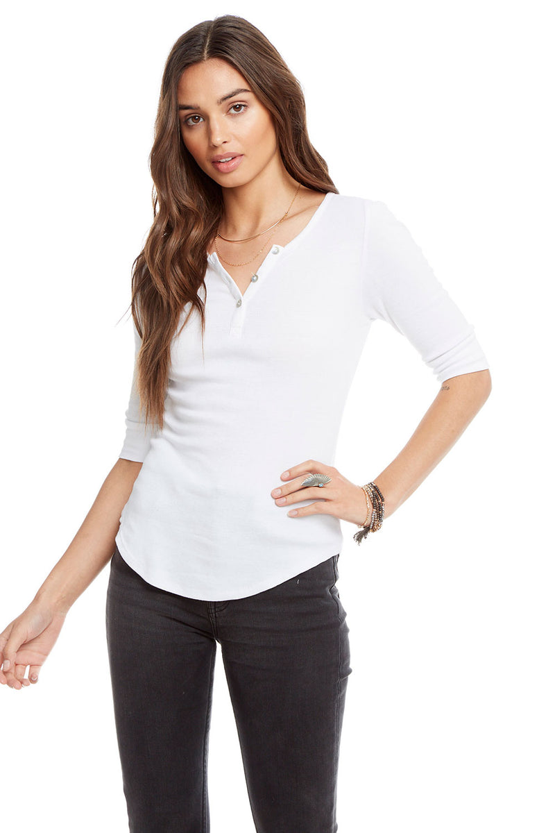 Baby Rib 3/4 Sleeve Shirttail Henley, WOMENS, chaserbrand.com,chaser clothing,chaser apparel,chaser los angeles