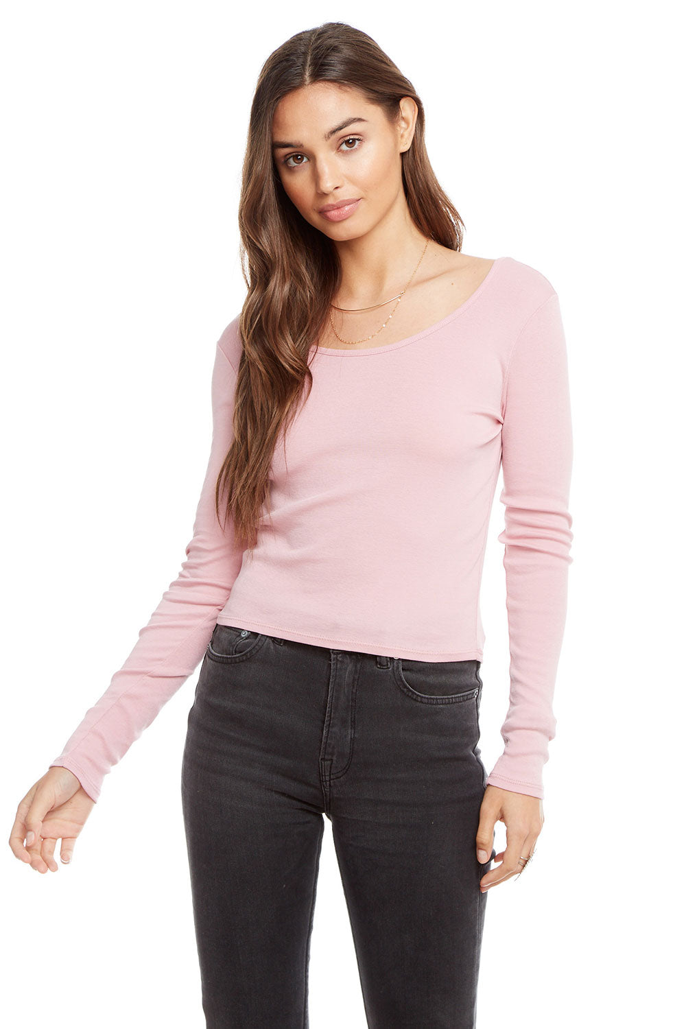 Baby Rib Long Sleeve Double Scoop Crop Top BCA chaserbrand4.myshopify.com