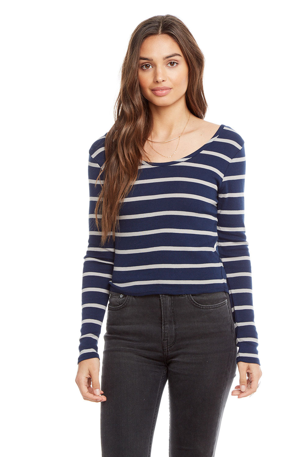 Baby Rib Long Sleeve Double Scoop Crop Top WOMENS chaserbrand4.myshopify.com