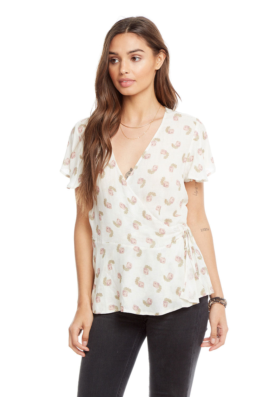 Heirloom Gauze Flutter Sleeve Surplice Wrap Top WOMENS chaserbrand4.myshopify.com