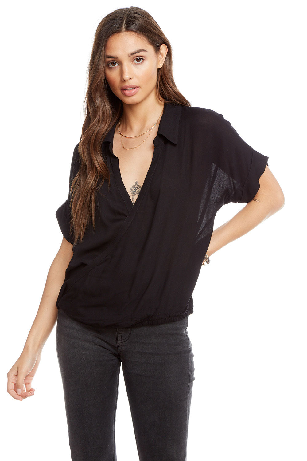 Heirloom Gauze Rolled Sleeve Surplice Short Sleeve Shirt WOMENS chaserbrand4.myshopify.com