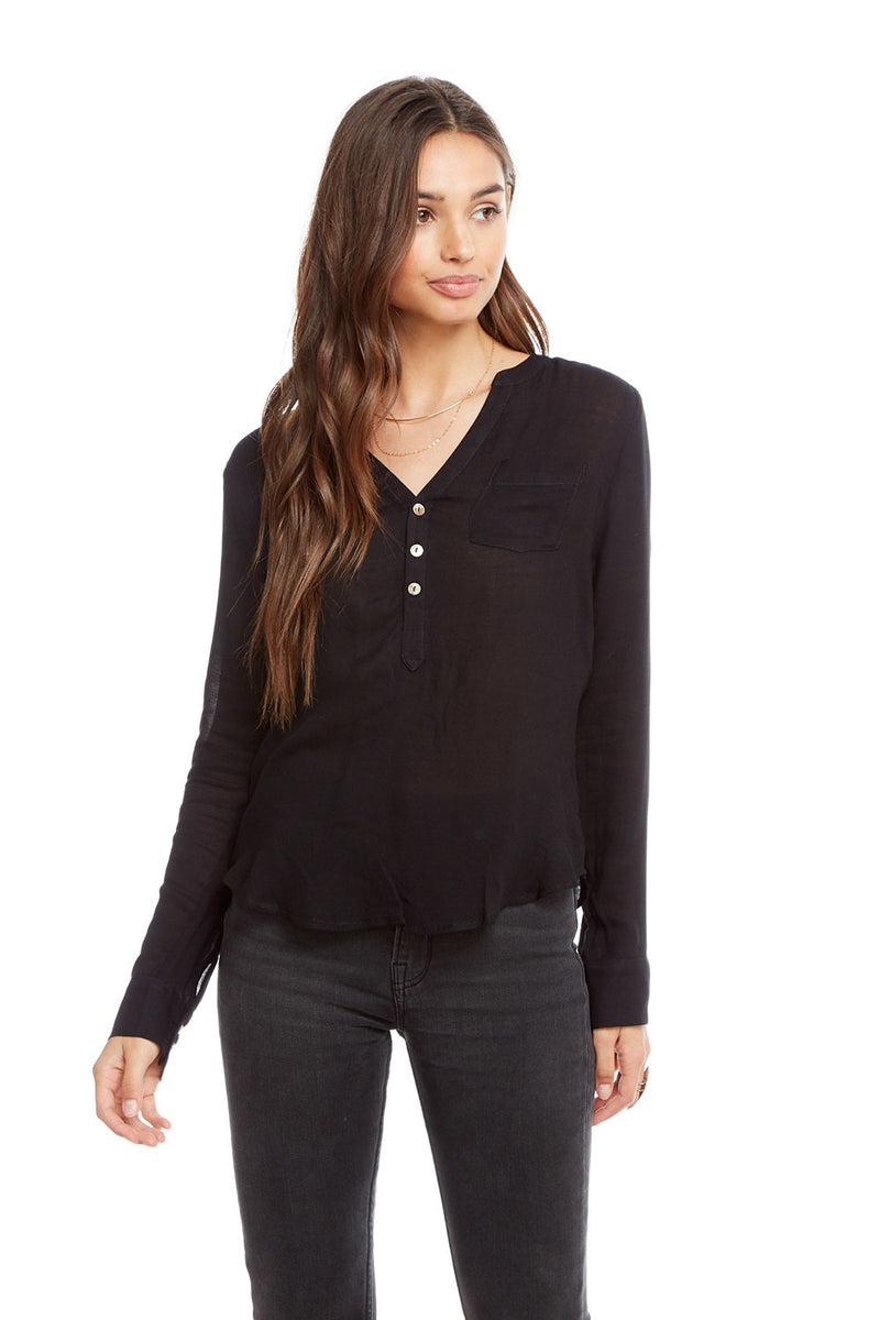 Heirloom Gauze Long Sleeve Shirttail Henley with Pocket, WOMENS, chaserbrand.com,chaser clothing,chaser apparel,chaser los angeles