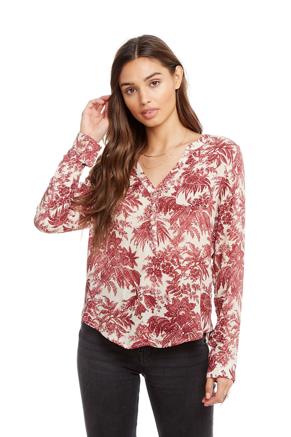 Heirloom Gauze Long Sleeve Shirttail Henley with Pocket WOMENS chaserbrand4.myshopify.com
