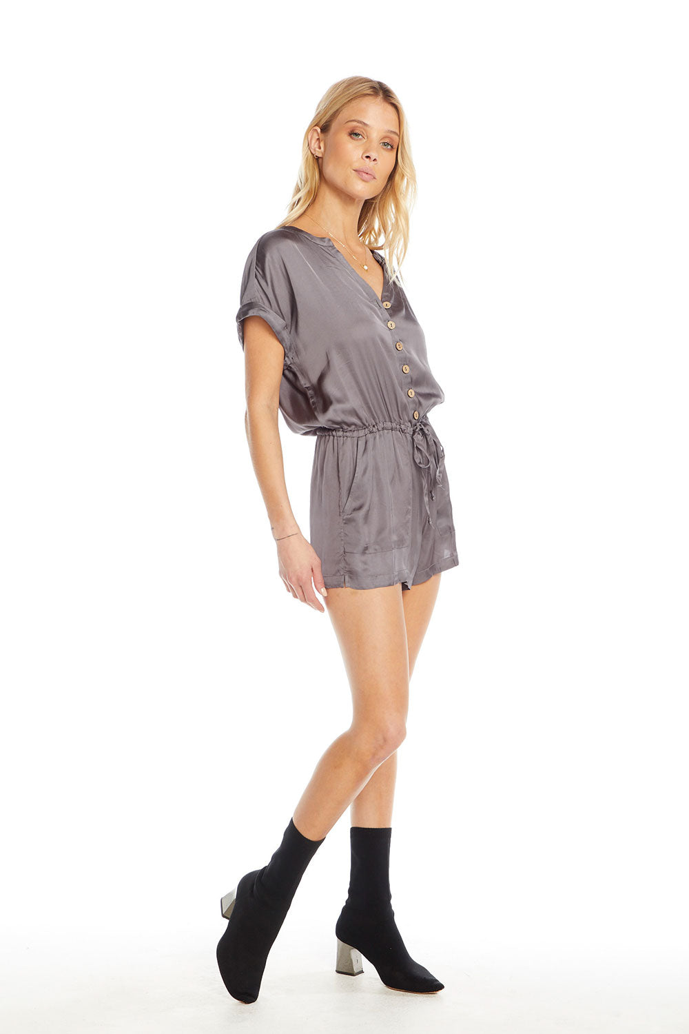 Silky Basics Short Sleeve Drop Shoulder Drawstring Waist Button Down Romper WOMENS chaserbrand4.myshopify.com