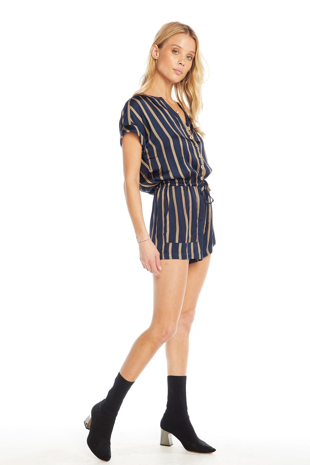 Silky Basics Short Sleeve Drop Shoulder Drawstring Waist Button Down Romper, WOMENS, chaserbrand.com,chaser clothing,chaser apparel,chaser los angeles