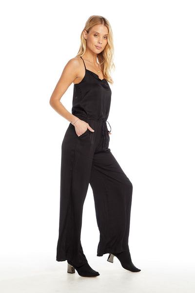 Silky Basics Cross Back Cowl Neck Jumpsuit, WOMENS, chaserbrand.com,chaser clothing,chaser apparel,chaser los angeles