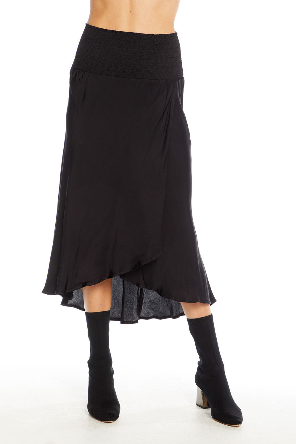 Silky Basics Smocked Waist Faux Wrap Midi Skirt WOMENS - chaserbrand
