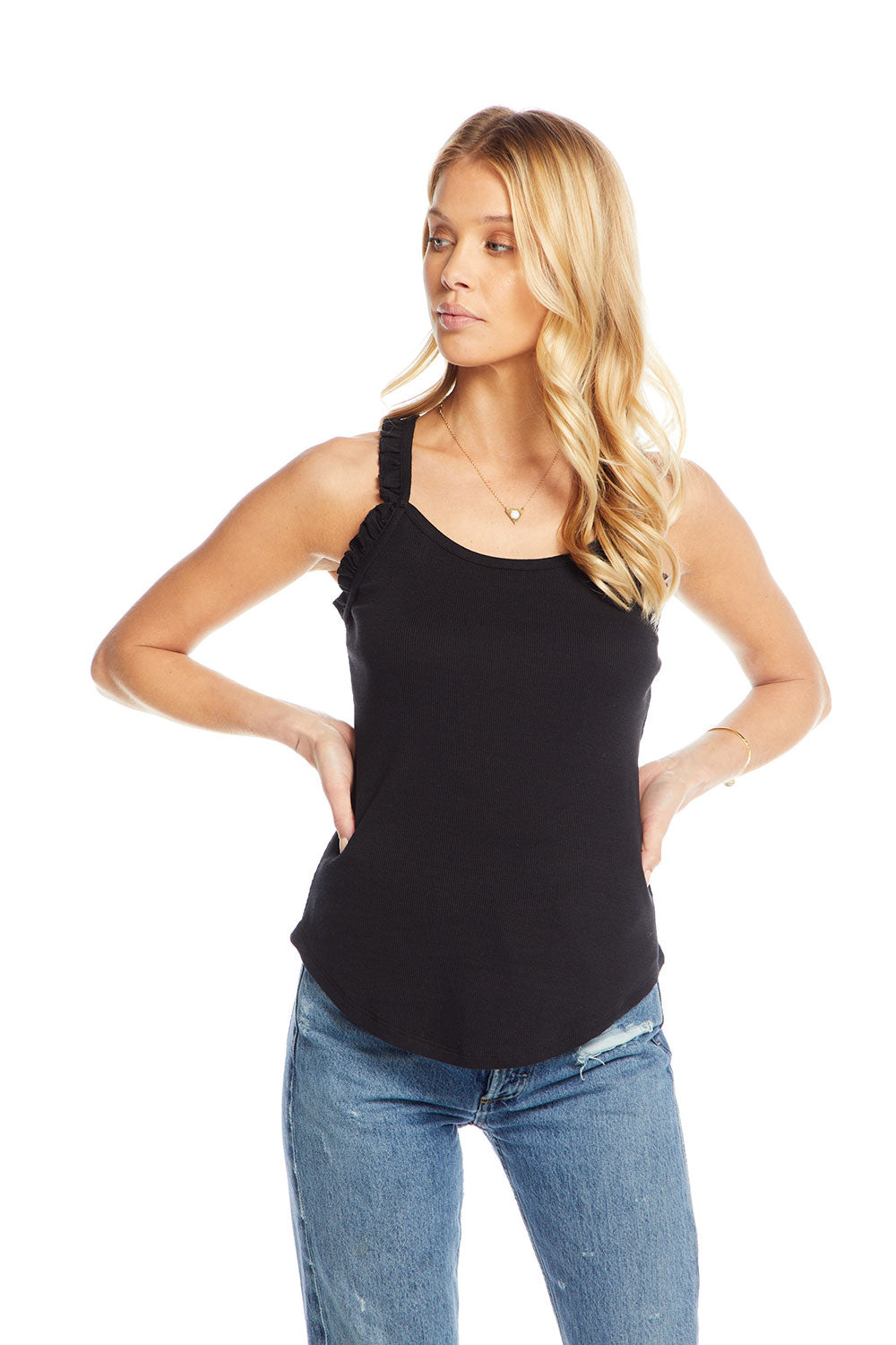 Vintage Rib Ruffle Scoop Strappy Back Shirttail Tank WOMENS chaserbrand4.myshopify.com