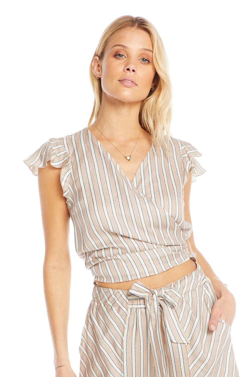 Linen Short Sleeve Flutter Surplice Wrap Crop Top WOMENS chaserbrand4.myshopify.com