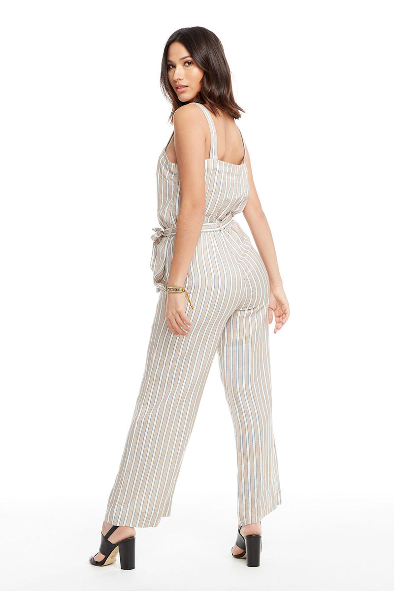 Linen Wide Leg Tie Waist Button Front Jumpsuit WOMENS chaserbrand4.myshopify.com