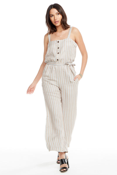 Linen Wide Leg Tie Waist Button Front Jumpsuit, WOMENS, chaserbrand.com,chaser clothing,chaser apparel,chaser los angeles