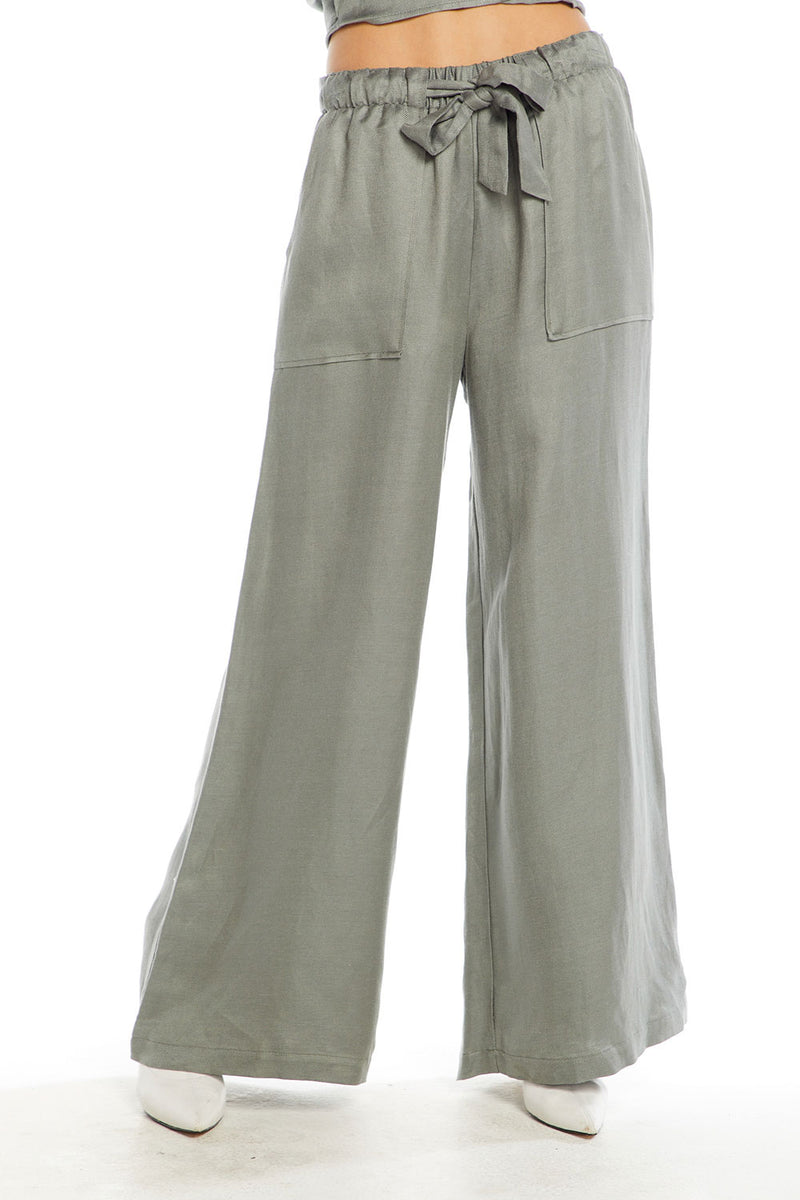Linen Wide Leg Belted High Waist Pant, WOMENS, chaserbrand.com,chaser clothing,chaser apparel,chaser los angeles