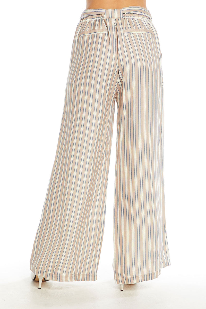 Linen Wide Leg Belted High Waist Pant WOMENS chaserbrand4.myshopify.com