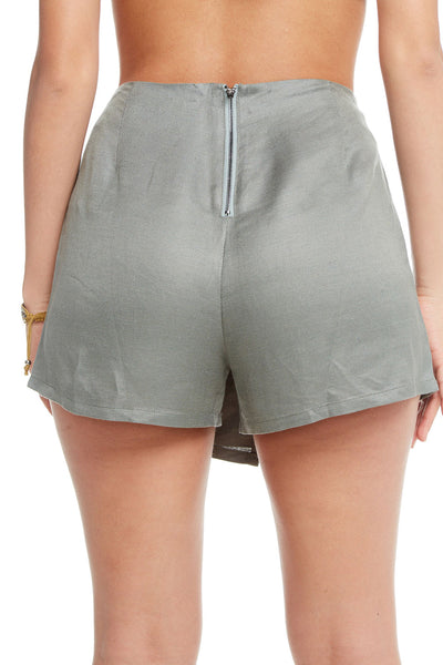 Linen Asymmetrical Faux Wrap Zip Back Skort, WOMENS, chaserbrand.com,chaser clothing,chaser apparel,chaser los angeles