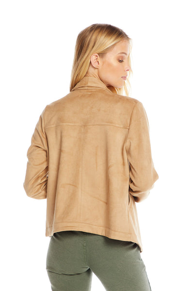 Stretch Faux Suede Long Sleeve Drape Front Jacket, WOMENS, chaserbrand.com,chaser clothing,chaser apparel,chaser los angeles