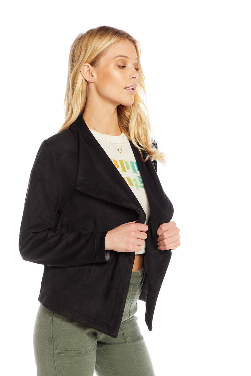 Stretch Faux Suede Long Sleeve Drape Front Jacket WOMENS chaserbrand4.myshopify.com