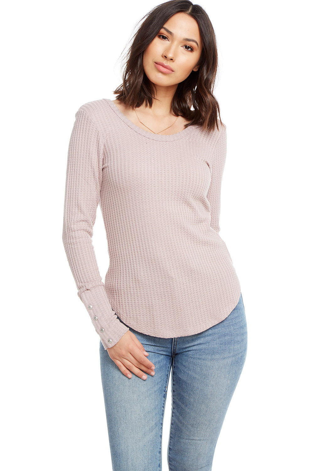 Thermal Long Sleeve Double Scoop Button Cuff Shirttail Tee, WOMENS, chaserbrand.com,chaser clothing,chaser apparel,chaser los angeles