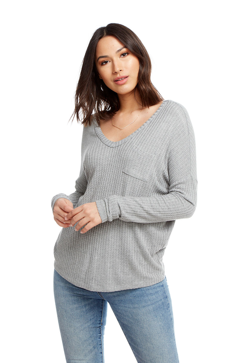 Thermal Long Sleeve Double V Drop Shoulder Pocket Tee, WOMENS, chaserbrand.com,chaser clothing,chaser apparel,chaser los angeles