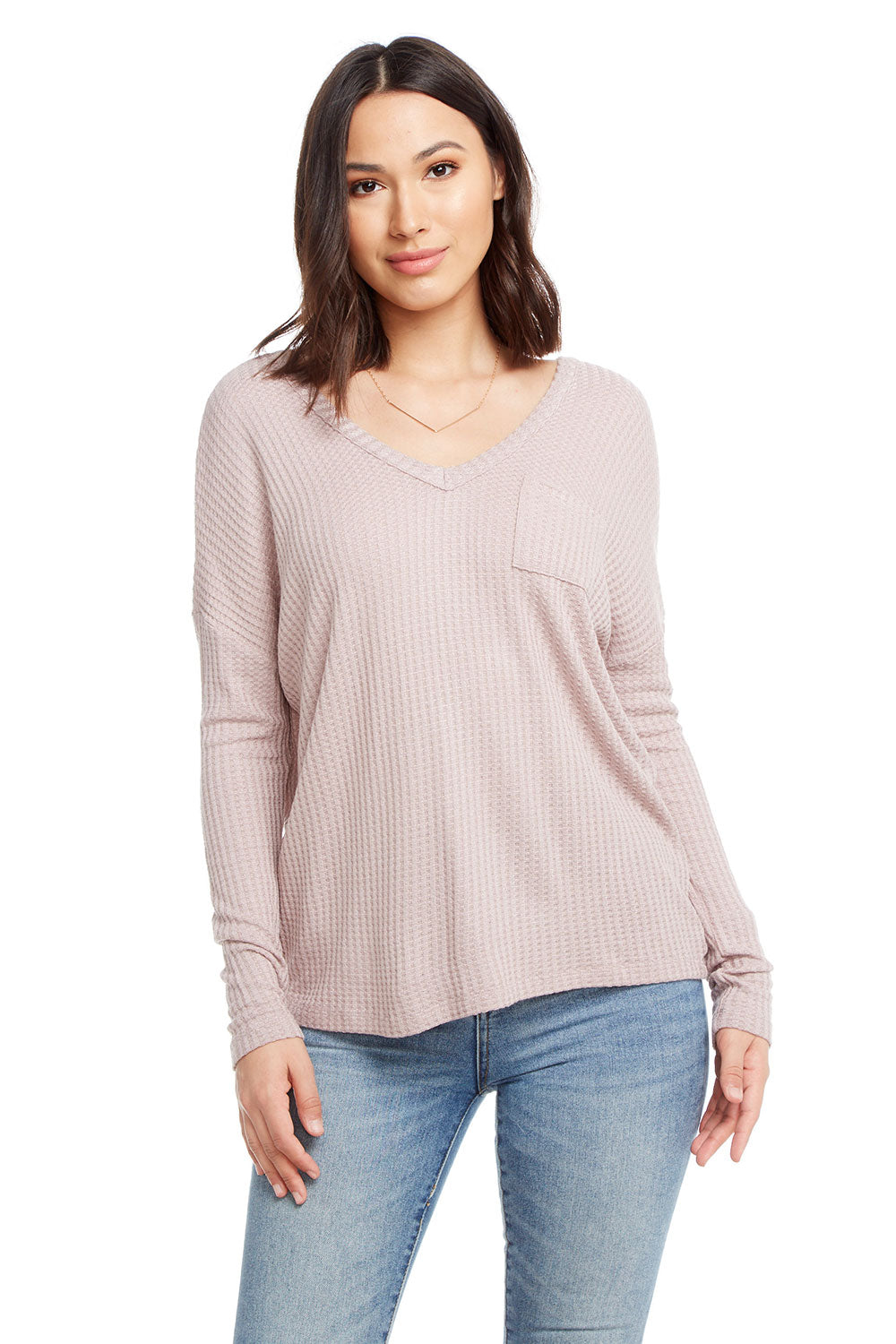 Thermal Long Sleeve Double V Drop Shoulder Pocket Tee WOMENS chaserbrand4.myshopify.com
