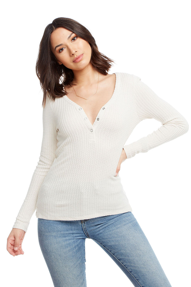Thermal Long Sleeve V-Neck Snap Front Henley, WOMENS, chaserbrand.com,chaser clothing,chaser apparel,chaser los angeles