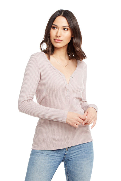 Thermal Long Sleeve V-Neck Snap Front Henley WOMENS chaserbrand4.myshopify.com