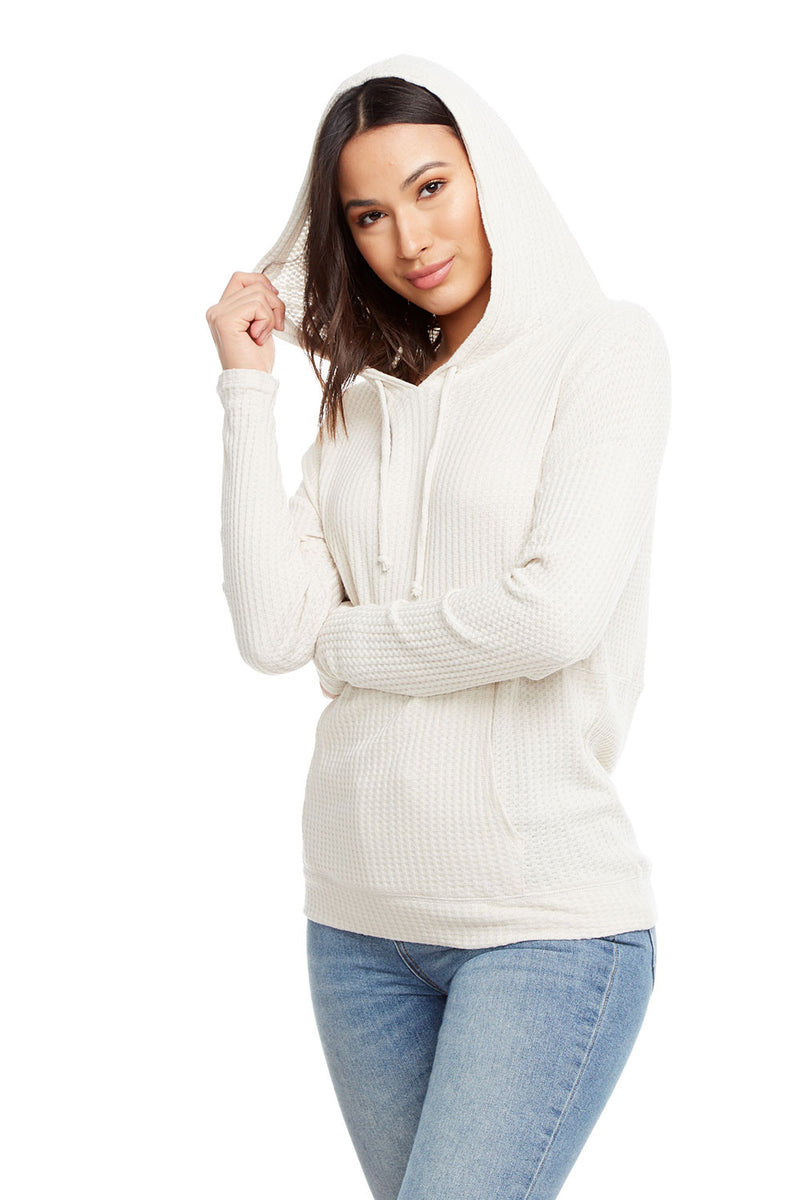 Thermal Long Sleeve Drop Shoulder Kanga Pocket Pullover Hoodie WOMENS chaserbrand4.myshopify.com