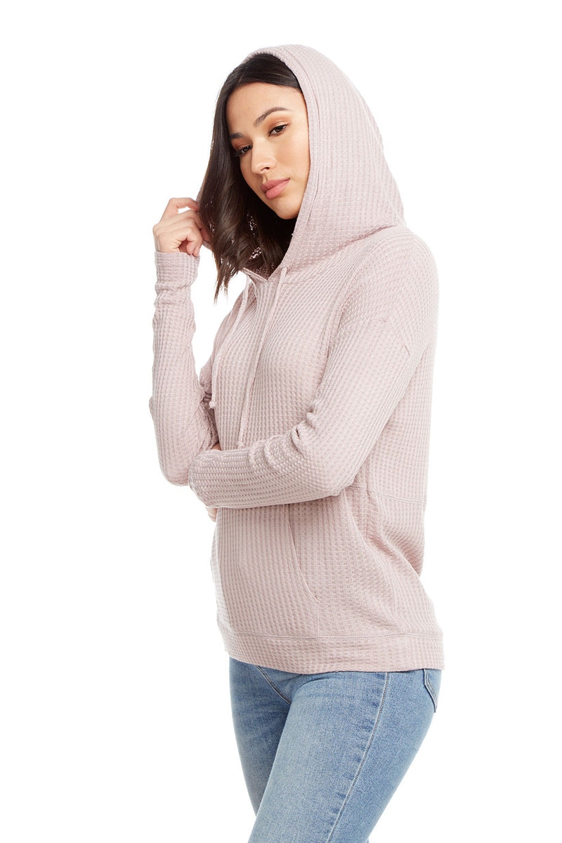 Thermal Long Sleeve Drop Shoulder Kanga Pocket Pullover Hoodie, WOMENS, chaserbrand.com,chaser clothing,chaser apparel,chaser los angeles