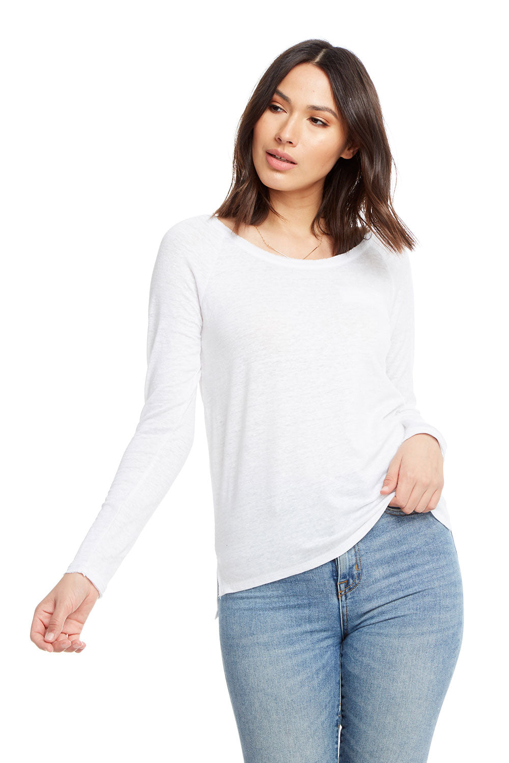 Linen Jersey Long Sleeve Hi Lo Open Neck Welt Pocket Raglan Tee WOMENS chaserbrand4.myshopify.com
