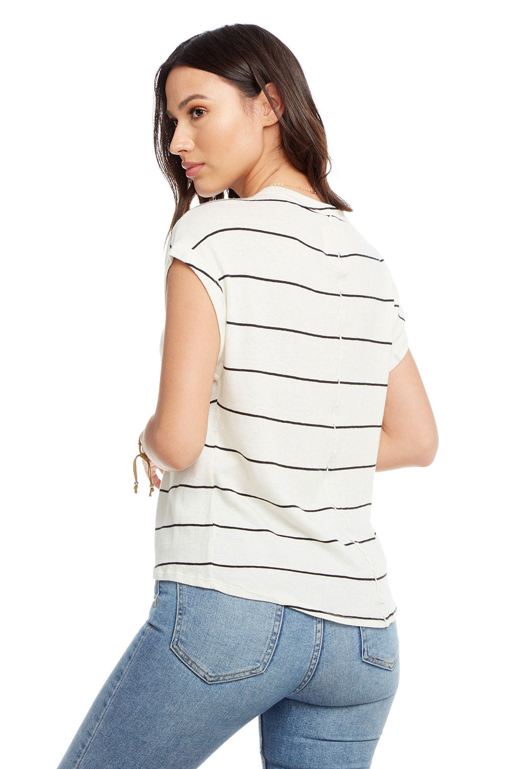 Gauzy Cotton Crew Neck Drop Shoulder Roll Sleeve Hi Lo Tee