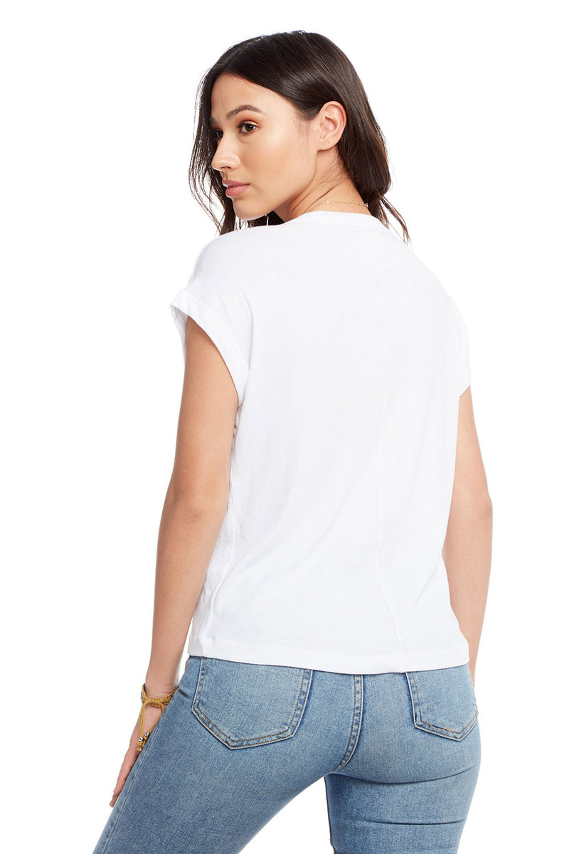 Gauzy Cotton Crew Neck Drop Shoulder Roll Sleeve Hi Lo Tee, WOMENS, chaserbrand.com,chaser clothing,chaser apparel,chaser los angeles
