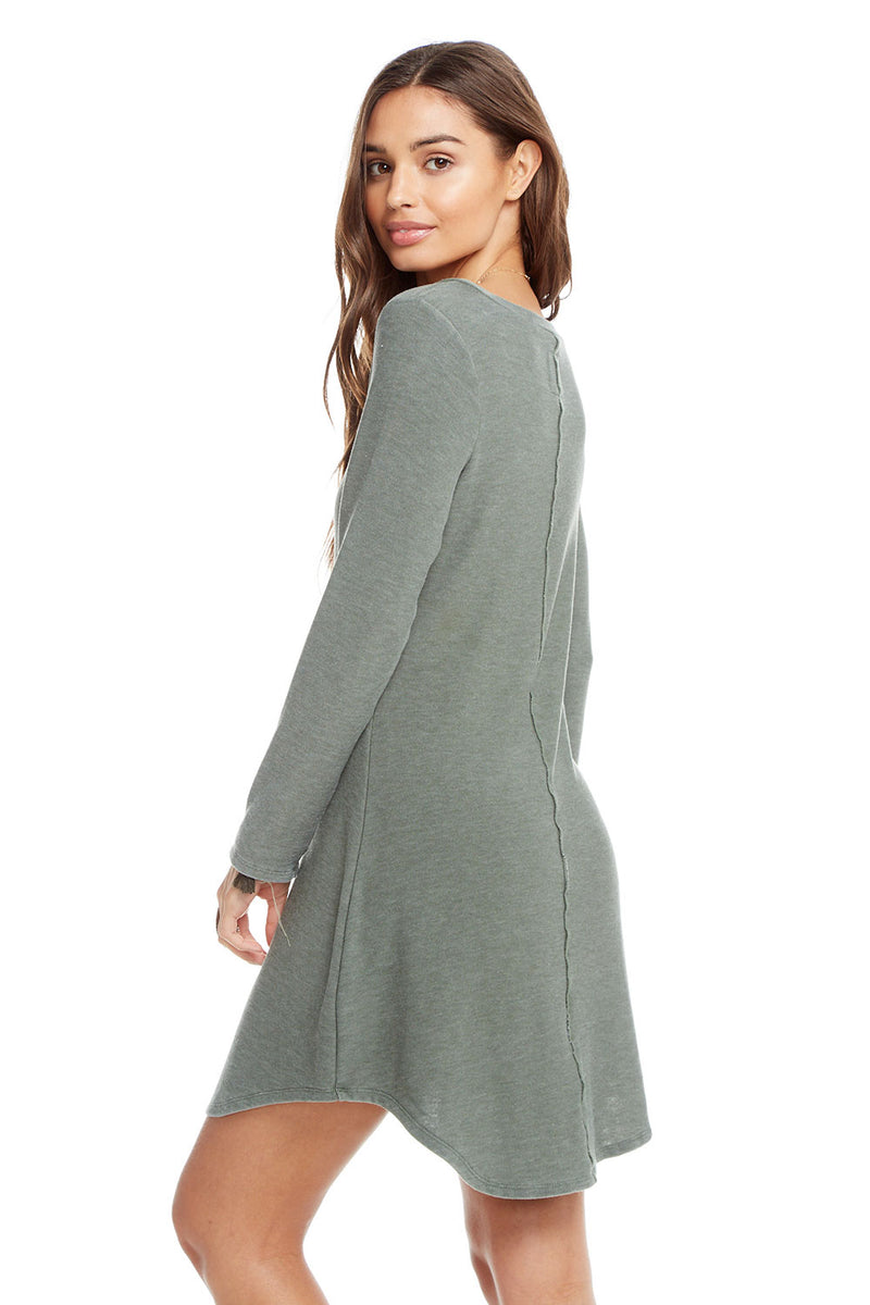Cozy Knit Long Sleeve V-Neck Shirttail Mini Dress, WOMENS, chaserbrand.com,chaser clothing,chaser apparel,chaser los angeles