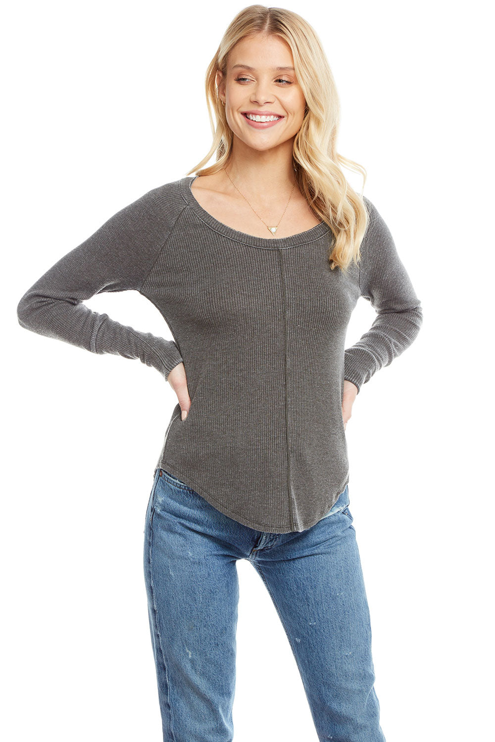 Cozy Rib Long Sleeve Seamed Shirttail Raglan Cuffed Tee, WOMENS, chaserbrand.com,chaser clothing,chaser apparel,chaser los angeles