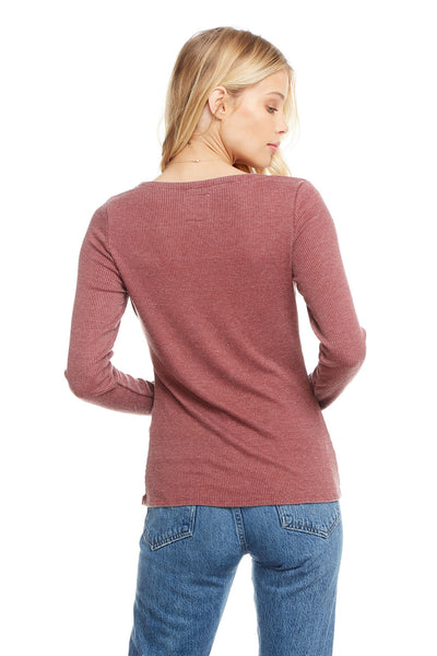 Cozy Rib Long Sleeve Square Neck Henley WOMENS chaserbrand4.myshopify.com