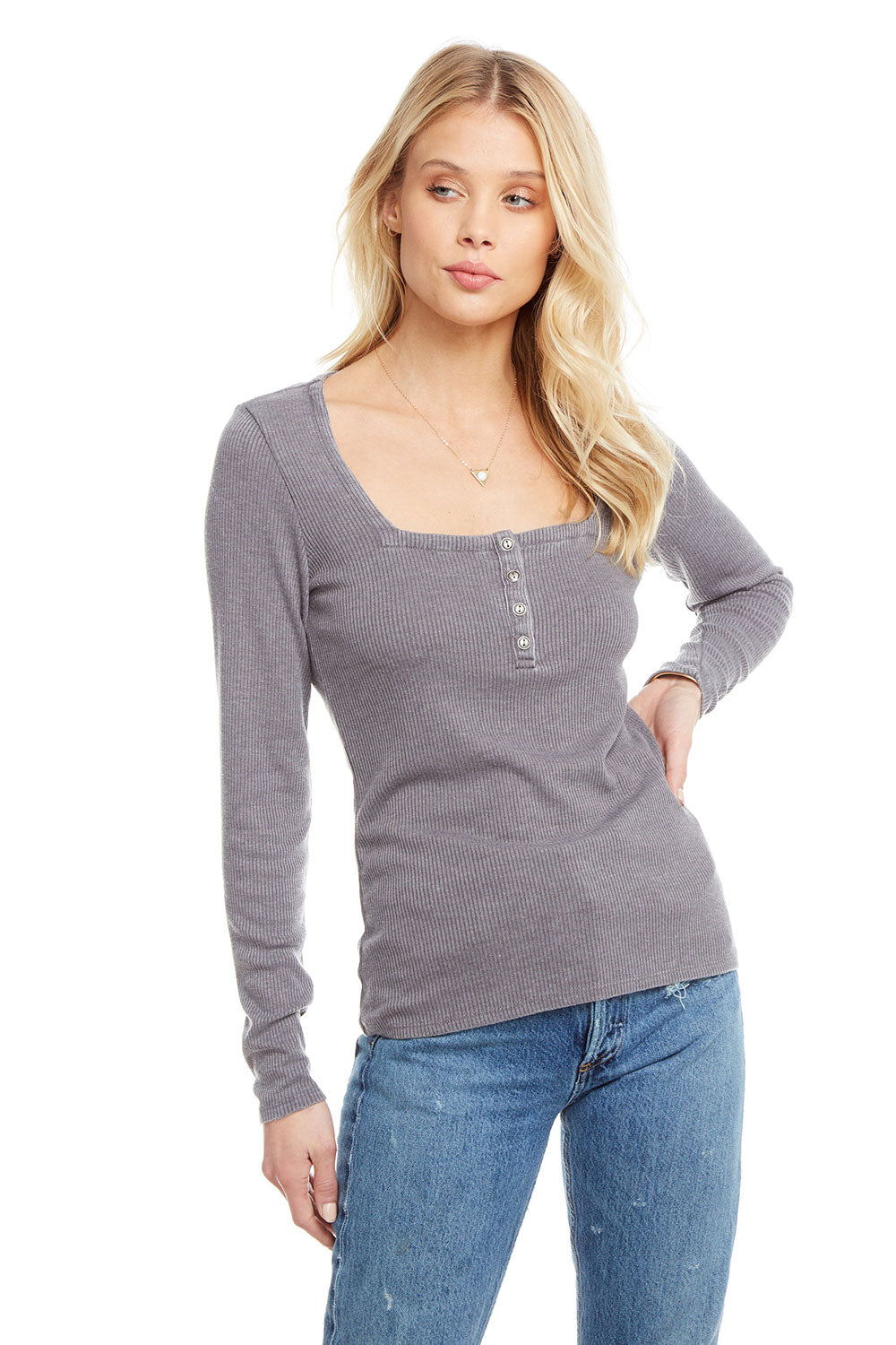 Cozy Rib Long Sleeve Square Neck Henley, WOMENS, chaserbrand.com,chaser clothing,chaser apparel,chaser los angeles