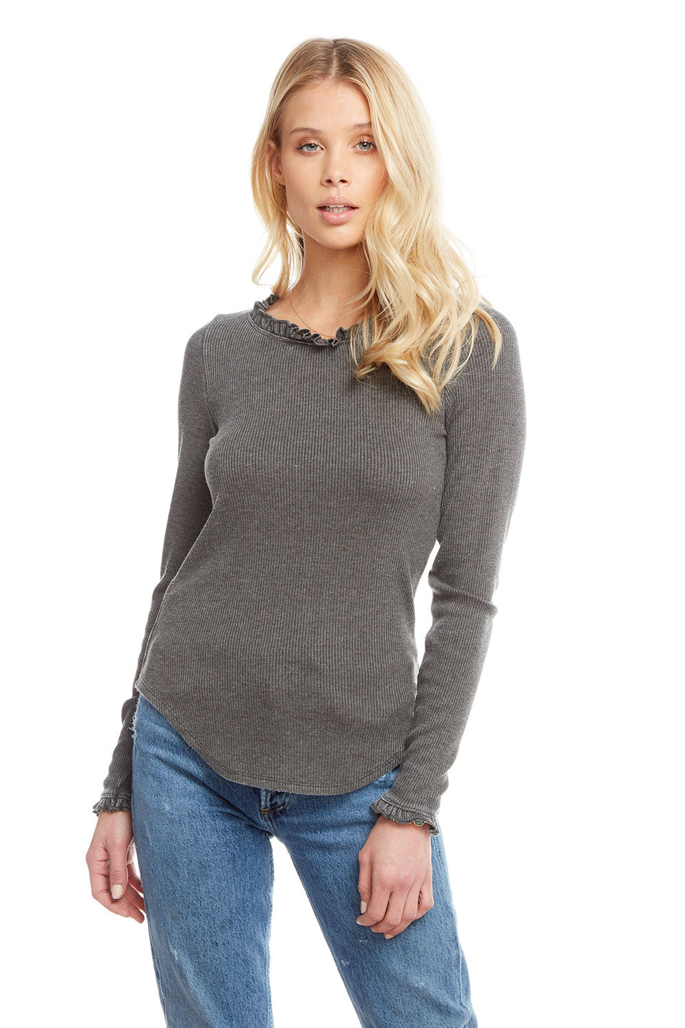 Cozy Rib Long Sleeve Ruffle Shirttail Open Neck Tee, WOMENS, chaserbrand.com,chaser clothing,chaser apparel,chaser los angeles