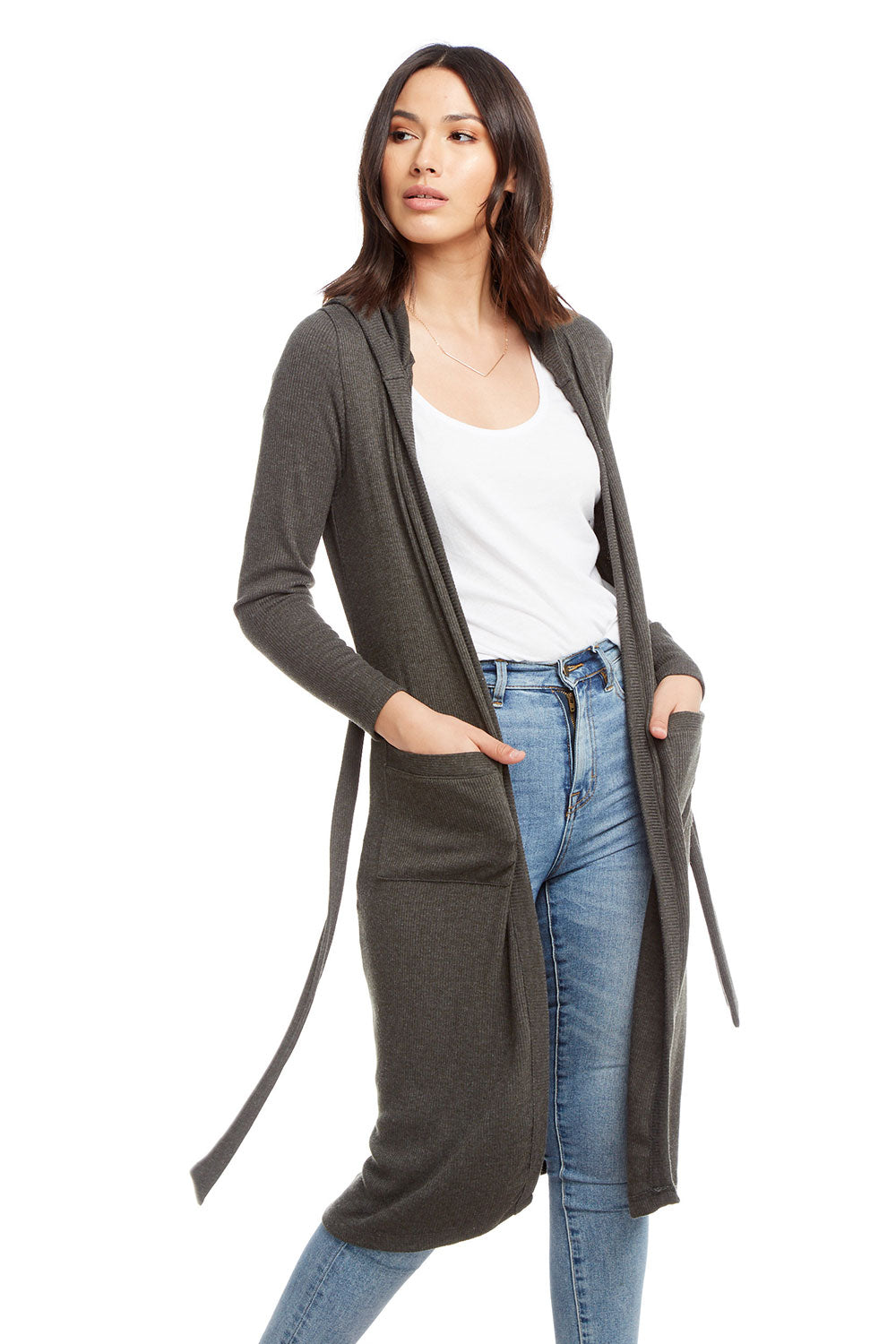 Cozy Rib Long Sleeve Open Hooded Duster with Belt WOMENS - chaserbrand