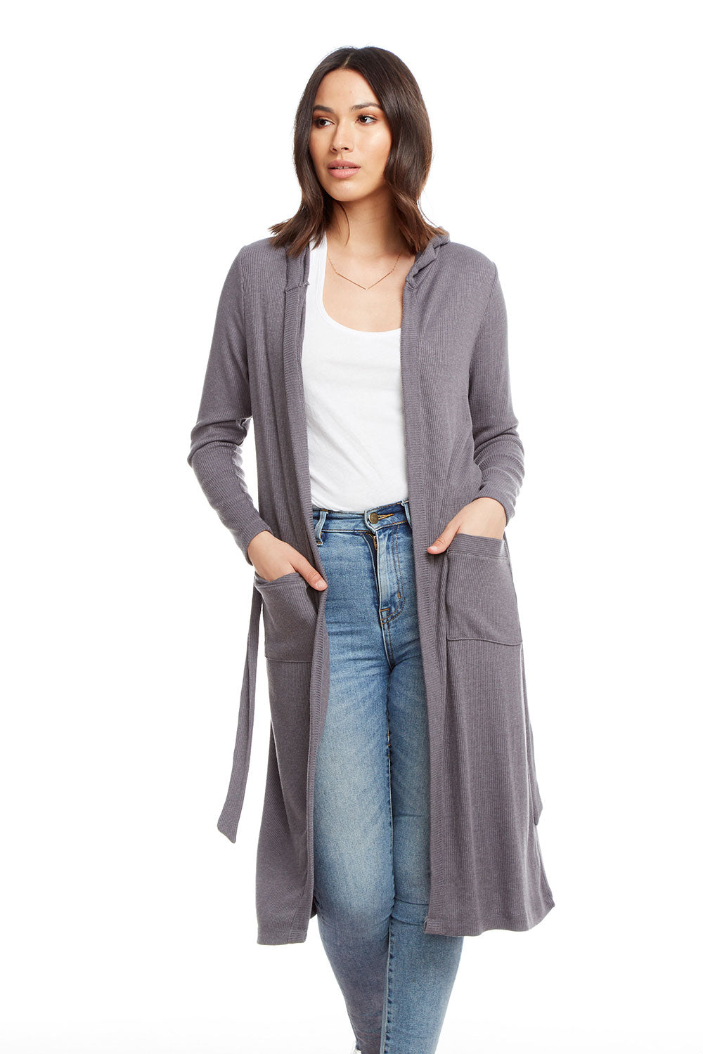Cozy Rib Long Sleeve Open Hooded Duster with Belt, WOMENS, chaserbrand.com,chaser clothing,chaser apparel,chaser los angeles