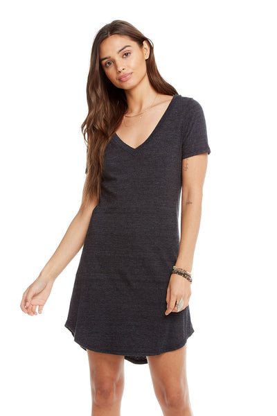 Triblend Short Sleeve V-Neck Hi Lo Shirttail T-Shirt Dress, WOMENS, chaserbrand.com,chaser clothing,chaser apparel,chaser los angeles
