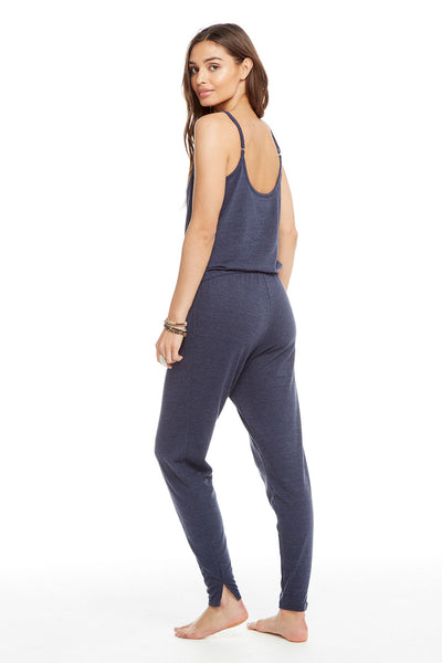 Triblend Scoop Back Drawstring Waist Henley Jumpsuit, WOMENS, chaserbrand.com,chaser clothing,chaser apparel,chaser los angeles