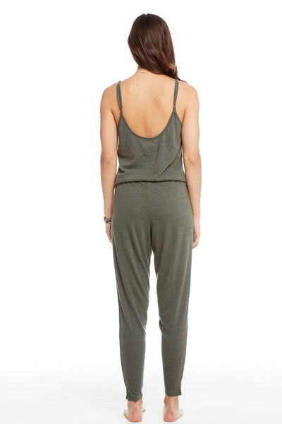 Triblend Scoop Back Drawstring Waist Henley Jumpsuit WOMENS chaserbrand4.myshopify.com